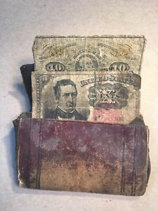 Civil War Era Fractional U.S. Currency Wallet Containing 2 Notes 10 cents each