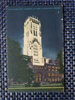 1940s Scottish Rite Cathedral at Night Indianapolis Indiana IN Linen Postcard