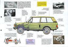 Range Rover 4X4 Turbo D V8  United Kingsdom UK 1971 Car Auto FICHE FRANCE