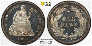 1866 Liberty Seated Dime PCGS PR64DCAM CAC Deep Cameo
