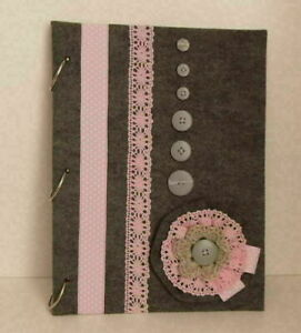 Photo album,Scrapbook,Planner-Felt cover,handmade flower,lace,buttons-Pink,Gray