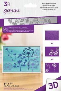 "Gemini 3D Embossing Folder & Stencil - Delicate Dandelions 5"" x 7"""