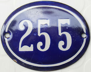 Old blue oval French house number 255 door gate plate plaque enamel steel sign