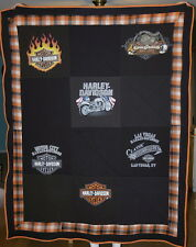 Harley Davidson Motorcycles Large Upcycled T-shirt Quilt Homemade, Cute Blanket!