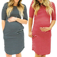 Women Pregnant O-Neck Stripe Short Sleeve Nursing Maternity T-Shirt Dress Tops 8
