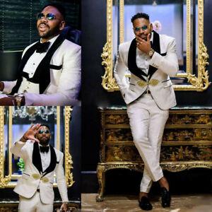 Men's Vintage Suit Tuxedos White Jacquard Paisley Black Lapel Groom Wedding New