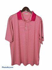 Bermuda Sands Xp Men's Golf Polo Shirt L Large Striped Pink White S/S