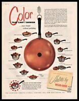 1955 WEAR-EVER Hallite Pots Pans w/ Copper Colored Lids Vintage Kitchen AD