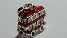 3D Doppeldecker Bus Anhänger 925er Silber Charm Dangle London rot Emaille NEU