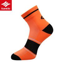 Santic Men Cycling Socks Running Breathable One Size Anklet Socks 1 Pair Orange