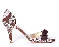 J.CREW Isabella Printed D'Orsay Heels 7 Brown Paisley Open Toe Bow