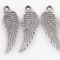 50Pcs Tibet Silver Angel Wings Charms Pendants DIYNecklace Jewelry Making Acces