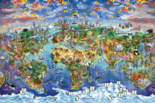 ANIMALS - MAP OF THE WORLD - ART POSTER / PRINT (WHICH ANIMALS LIVE WHERE)