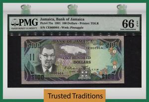 "TT PK 75a 1991 JAMAICA 100 DOLLARS ""SAMUEL SHARPE"" PMG 66 EPQ GEM UNC POP TWO!"
