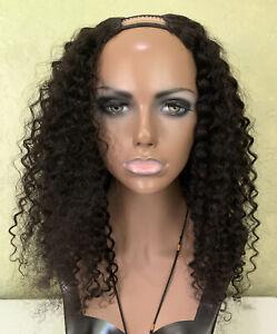 U-Part Real Human Hair Wig Dark Brown Curly 18 inches 100% Natural
