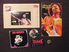 Jimi Hendrix Patch Pins Sticker Stamps & Booklet Lot of 7