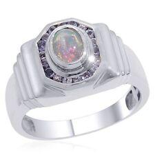 Natural Opal & Tanzanite Gem Stone 925 Sterling Silver Ring Men's Jewelery Us 8