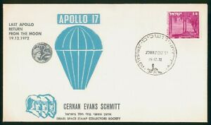 Mayfairstamps Israel Space 1972 Apollo 17 Return From Moon Astronauts Cover wwp_