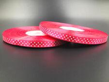 New hot 10 Yards 3/8 10mm Polka Dot Ribbon Satin Craft Supplies  rose red