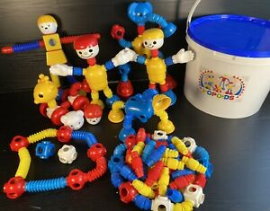 Vintage 1980sPOPOIDS Bendy Plastic Kids Toy Large Set in Original Bucket Bundle