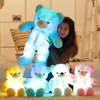 LED Teddy Bear Light Up Blue Plush Toy Animal Glowing Kids Gift