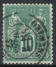 "FRANCE STAMP TIMBRE N° 76 "" SAGE 10c VERT TYPE II 1876 "" OBLITERE TTB  M076"