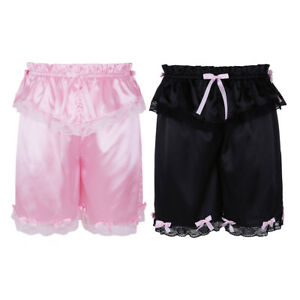 Sissy Mens Frilly Lace Crossdress Satin Skirted Bloomers Panties Lounge Shorts