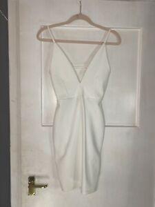 Missguided White Plunge Mini Dress
