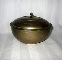 Vintage 5 X 3 Brass Round Chinese Trinket Change Stash Box Signed