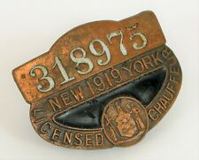 ANTIQUE 1919 NEW YORK CITY LICENSED CHAUFFEUR TAXI DRIVER LICENSE BADGE MEDAL