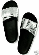 Victoria's Secret Pink SILVER Slides Slippers Shoes SIZE M MEDIUM 7/8 SOLD OUT!