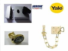 Arrone Hoppe 60mm Plata Nightlatch no Cilindro con Spy-Nuevo y cadena de Yale