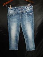 Miss Me Size 25 Capri Blue Jeans JE1563P2 Studded Angel Wing Pocket Capris