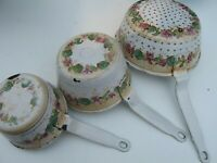 Antique French Enamelware/Graniteware Pans with Colander