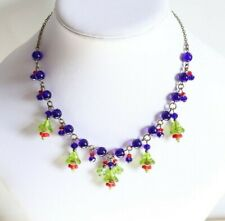 Green/Blue/Red Bell Flower Necklace Vintage Art Deco Style