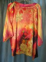 3X  NY COLLECTION BLOUSE STUDS BLING GEOMETRIC 3/4 SLEEVE PLUS POLY MULTI-COLOR