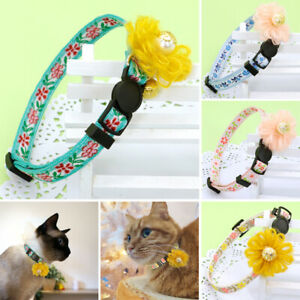 """Adjustable Floral Cat Collar Quick Release Kitten Collar with Gold Bell 8.5""""-13"""""""