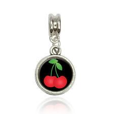 Cherries on Black Euro European Italian Style Bracelet Bead Charm
