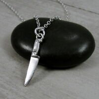 Silver Knife Charm Necklace - Miniature Chef Knife Kitchen Utensil Jewelry NEW