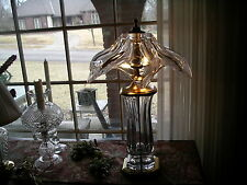 Daum French Freeform Lamp & Shade HEAVY CRYSTAL FABRIQUE EN MADE IN FRANC