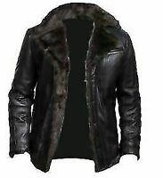 Mens Leather Jacket Black B3 Bomber Aviator RAF Pilot Flying Airforce Sheepskin