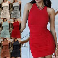 Women Sleeveless Ruched Drawstring Sexy Mini Dress Party Bodycon Clubwear Dress