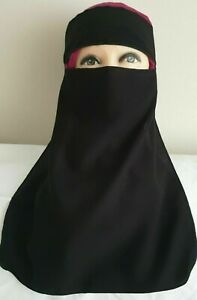 Single Layer Niqab Face Veil With Tie Back