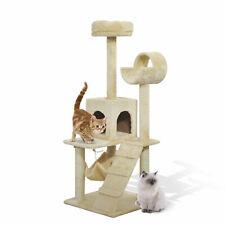 "52"" Scratching Cat Tree Condo Pet Kitten Furniture Activity Center Beige"