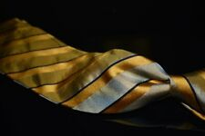 Valentino Made in Italy Woven Satin Taupe Gold Jacquard Shimmer Stripe Silk Tie