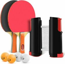 Ping Pong Paddle Set w/2 Rackets Retractable Table Tennis Net 4 Professional Bal