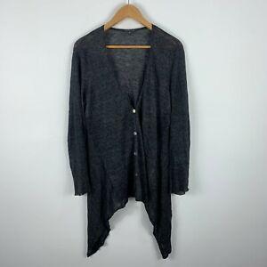 Eileen Fisher Womens Cardigan Size Medium Grey Long Sleeve Button Closure Linen