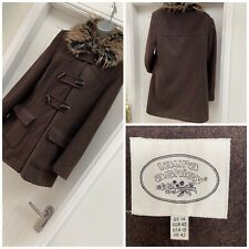 Laura Ashley Vintage Brown Thick  Wool Duffle Coat Size 14 Fur Lined Collar