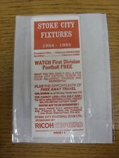 1984/1985 Fixture List: Stoke City - Official Four Page Card . Thanks for viewin