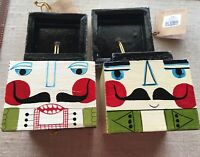 Two CRATE & BARREL Gift Box NUTCRACKER Ornaments Christmas Holiday NWT Red Green